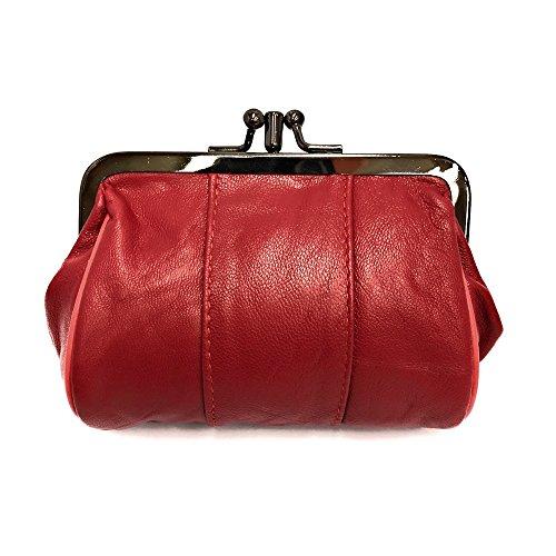 LOLUNA® Porte-Monnaie Femme Cuir Agneau Souple, Fermoir clic-clac modèle Retro,2 Compartiments spacieux, Couleurs au Choix - Rouge