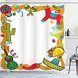 QDAS 60X72inch Fiesta Cortina de Ducha Estilo de Dibujo de Dibujos Animados Piñata Mexicana Taco Chili Pepper Sugar Skull Pattern Guitarra Tela Tela Baño Decoración Set con Ganchos