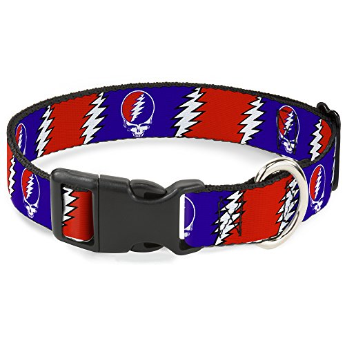 Buckle-Down Plastic Clip Collar - Steal Your Face w/Lightning Bolt Repeat Red/White/Blue - 1/2' Wide - Fits 9-15' Neck - Large