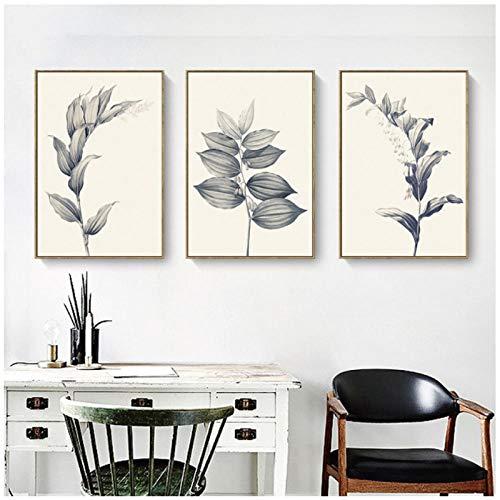 Woplmh Nordic stijl laat kleine bloemen poster en druk groen plant canvas schilderij voor woonkamer Home Decoration muurkunst -50x70cmx3Pcs (geen lijst)