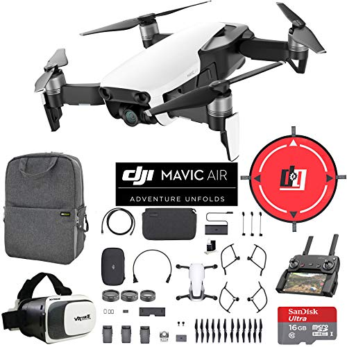 DJI Mavic Air Fly More Combo (Arctic White) Drone Combo 4K Wi-Fi Quadcopter with Remote Controller Mobile Go Bundle with Backpack VR Goggles Landing Pad 16GB Card and HD Filter Kit