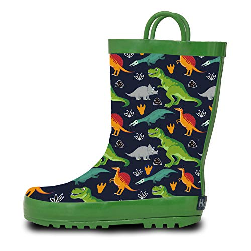 Horalah Kids Rain Boots, Toddler Rubber Printed Boots with Easy-On Handles for Boys