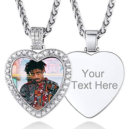 Fotogravur und Textgravur aus Kupfer Damen Halskette mit Bildgravur Zirkonia Anhänger mit Eigener Silberfarbe Fotogravur Herz Anhänger Fotogravur mit 45CM Kette