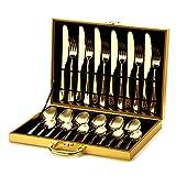 Juego de cubiertos de acero inoxidable de 24 piezas para el hogar y la cocina, juego de vajilla para 6 cubiertos, incluye cuchillo/tenedor/cuchara/cuchara con caja de regalo dorado