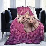 yeeatz Unique Hairless Cat Fleece Throw Blanket Soft Bed Couch Sofa Blankets, 60'' X 50''