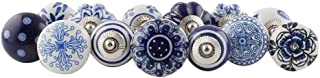IndianShelf Handmade Assorted Pack of 25 Decorative Knobs Blue Floral Handles Ceramic Cabinet Pulls Mix Vintage Combo