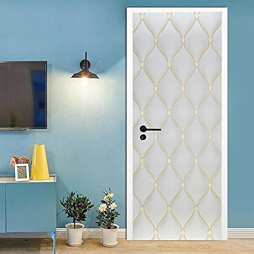 Pegatinas 3D para puertas interiores autoadhesivas, murales de pared para puerta de pared, diseño geométrico blanco, vinilo extraíble, impermeable, 77 x 220 cm