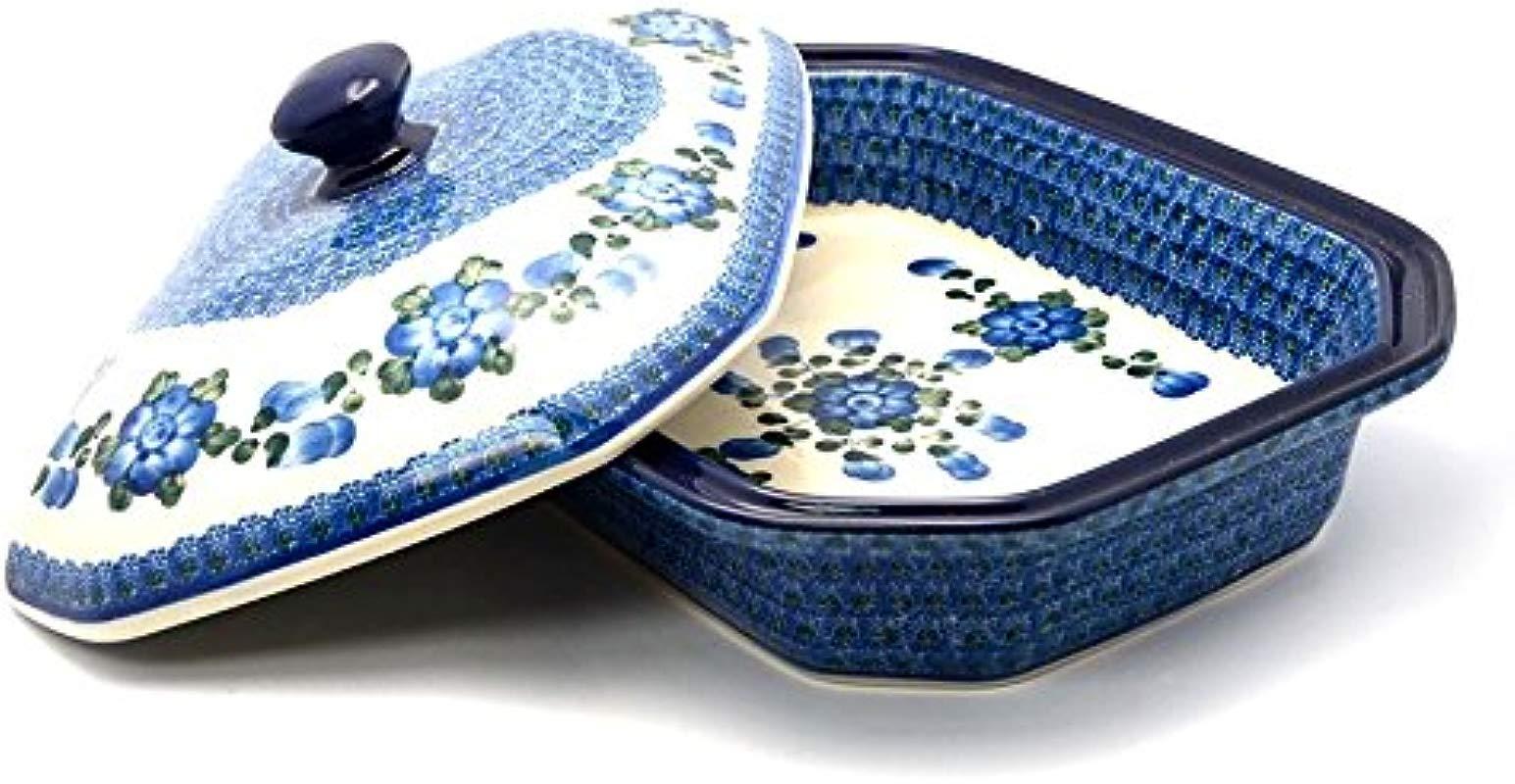 Polish Pottery Baker Rectangular Covered Large Blue Poppy