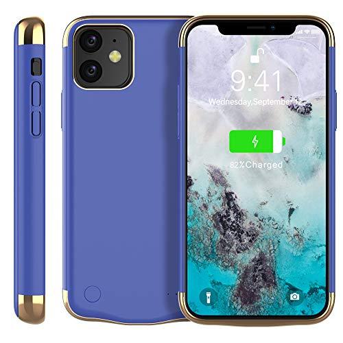 Casewin Funda Bateria para iPhone 11 6.1 Inch, 6000mAh Li-Polymer Batería Externa Recargable Backup Charger Carcasa Portátil Power Bank Case Compatible con iPhone 11 - Azul