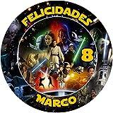 OBLEA de Star Wars Personalizada con Nombre y Edad para Pastel o Tarta, Especial para cumpleaños, Medida Redonda de 20cm de diámetro