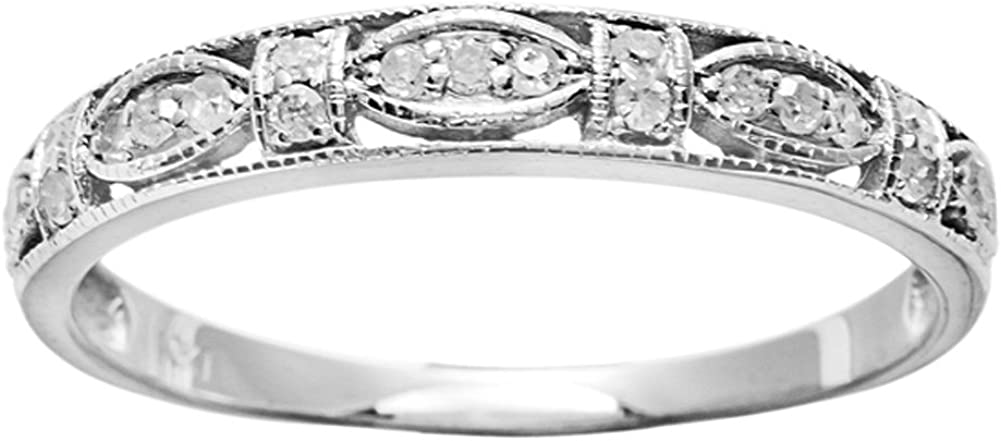 10k White Gold Vintage Style Diamond Anniversary Ring (1/6 cttw, I-J Color, I2-I3 Clarity)