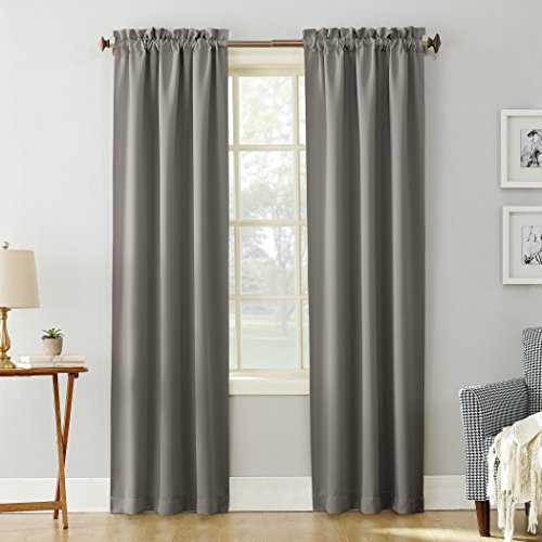 "Sun Zero 51745 Easton Blackout Energy Efficient Rod Pocket Curtain Panel, 40"" x 84"", Gray"