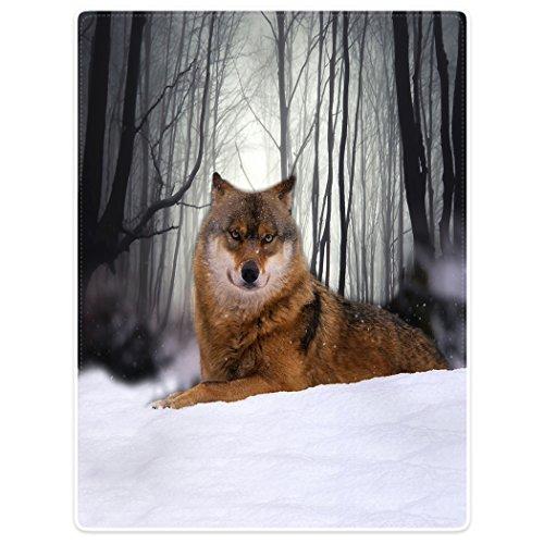 Violetpos Dick Decke Weich Wärme Gemütlich Flanell-Fleece Sofadecke Deckeldecke Wald Mit Schnee Bedeckt Wolf Hund Tarnung Tier 150 x 200 cm