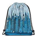 Drawstring Backpack Sports Gym Bag For Women Men blue city simple viewy night scene Geometric