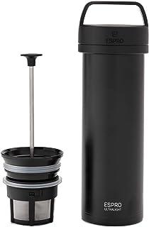 ESPRO Genérico - Cafetera de viaje (ultraligera, con función térmica, acero inoxidable, 475 ml), color negro
