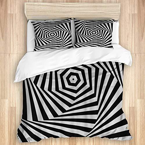 AIKIBELL Juego de Ropa de Cama 3 Piezas Microfibra,Remolinos en Blanco y Negro Hexagonal Twist Abstract Stripes,1 Funda Nórdica y 2 Funda de Almohada (Cama 220 x 240cm)