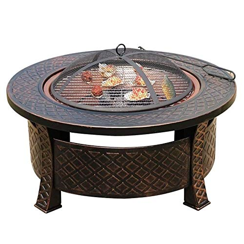 Buy Discount HLWAWA Outdoor Fire Pit Bonfire Wood Burning Patio Coal Grill Firepit for Outside Grill...