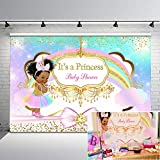 Mocsicka Unicorn Princess Baby Shower Photography Backdrop Ethnic Princess Pastel Rainbow Photo Background 7x5ft Glitter Gold Diamonds Pink Bow Vinyl Backdrops Girl Baby Shower Decorations Supplies