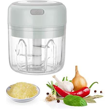 Gobesty Machacador de ajo Eléctrico, 250 ml Eléctrico Trituradora de ajo, Portátil Picadora de ajo para Jengibre, Cebolla, Chile en Polvo, Carne picada (USB Recargable)