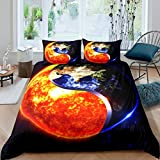 Earth and Sun Planet - Juego de funda de edredón de microfibra, diseño de Tai Chi y Universo para niños, niñas, adolescentes, ropa de cama de 3 piezas con 2 fundas de almohada dobles (sin edredón)