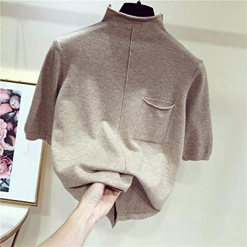 XA Halbarm-Oberteile Frauen Pullover Halbrollkragen Kurze Ärmel Pullover Gestrickt (Color : Khaki, Size : XXL)