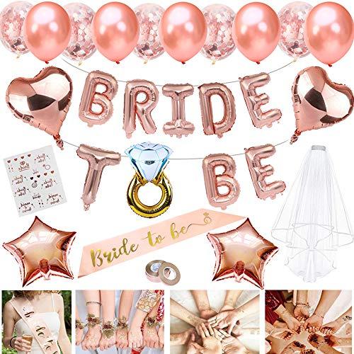 JWTOYZ Braut to Be Deko, Junggesellenabschied Deko mit Banner Folienballons Rosegold, Schärpe , Braut Tattoo, Rosegold Luftballons und Brautschleier