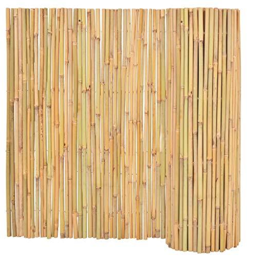 vidaXL Gartenzaun Bambusmatte Sichtschutzzaun Sichtschutzmatte Sichtschutz Bambuszaun Dekozaun Windschutz Garten Bambus 300x100cm Natur
