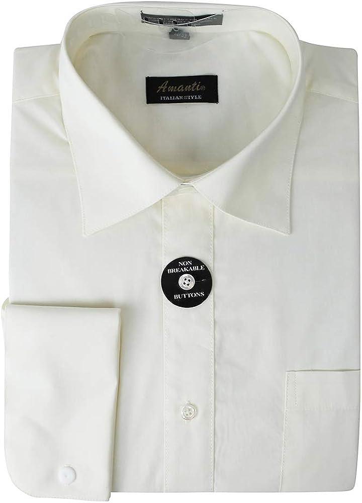 Amanti New Mens French Cuff Spread Collar Dress Shirt Cotton Blend