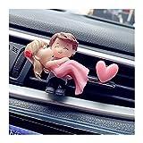 BUYOUTIA Bella Coppia Girl Boy Figurine Figurine Profumo Clip Car Air Vent Deodorante Profumo Aromas Diffusore Decor Auto Interno Accessori (Color Name : Hug Couple Heart)