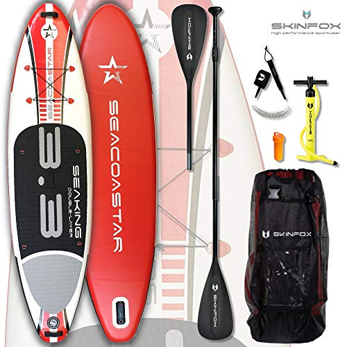 SEACOASTAR - Juego de Tablas de Surf (Aluminio, 325 x 80 x 15), Color Rojo, Tabla, Bolsa, Bomba, ALU Sup-/Kayak Paddel+Correa, 325x80x15