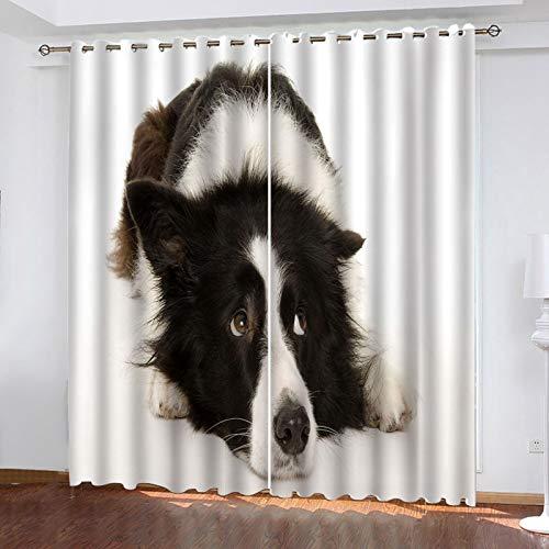 WLHRJ Cortina Opaca en Cocina el Salon dormitorios habitación Infantil 3D Impresión Digital Ojales Cortinas termica - 280x160 cm - Patrón de Perro Animal