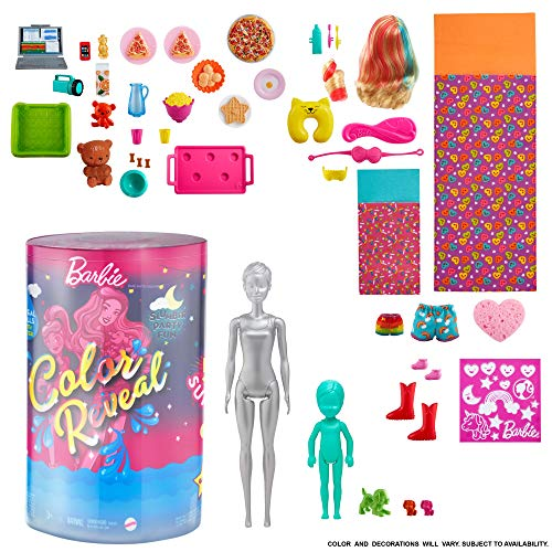 Barbie GRK14 - Color Reveal Pyjama-Party Deluxe Spielset mit 50+ Überraschungen