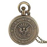 Reloj de Bolsillo para Hombre, Estilo Vintage, Color Bronce, con Insignia Militar, Regalo para...