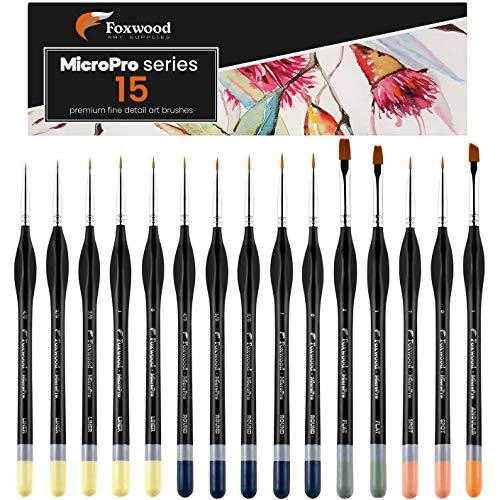 Foxwood Miniature Paint Brushes, 15pc Fine Detail Paint Brush Set for Precision Art, Miniature Figurines, or Scale Models. Suitable for Acrylic, Watercolor, Gouache, or Oil Paints.