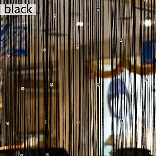Yuelso Quasten Vorhang Acryl Linie Fliegen Insekt Divider Vorhänge for Wohnzimmer-Fenster Küche String Perlen Dekor Partition Vorhang (Color : Black)