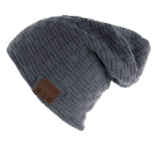 HaetFire Cappello Bluetooth Berretto Invernale Uomini Donne Wireless Cappello Musica con Cuffia Stereo Microfono Trendy Caldo Molle per Corsa Sci Escursionismo o Come Regalo di Natale (Grigio scuro)
