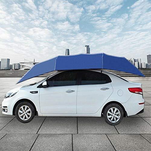 Cubierta para coche portátil semiautomática de metal y paño de paraguas, protección solar y antipolvo