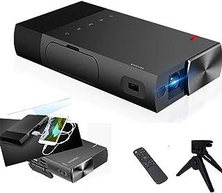 S1ミニチュア ミニ ポータブル プロジェクター / HD 対応 無線 DLP/ WiFi HDMI USB HiFi オーディオTF カード EZCAST AppleおよびAndroidデバイスのリンクミラーリング イヤホンポート 様々な接続...