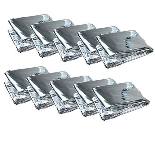 sharprepublic 10er Set Notfalldecke Rettungsdecken, Multifunktional Rettungsfolie Wärmedecke Schutzdecken - Silber, 210x130cm