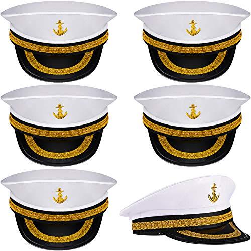 Boao 6 Stück Halloween Weiße Matrosen Mütze Kapitän Kappe Yacht Nautische Hüte für Erwachsene Matrosen Kostüm, Dress Up Party Hüte