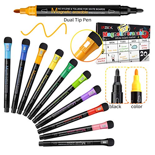 20 Pack Dry Erase Markers Magnetic Dual Fine Tip Erasable White board Markers Dry Erase Markers Pens for Kids Adults, Work On White board, Calendar, Refrigerator, for Classroom Work Office Supplies