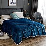 XUMINGLSJ Mantas para Sofás de Franela- Manta para Cama Reversible de 100% Microfibre Extra Suave -Azul_El 180x200cm
