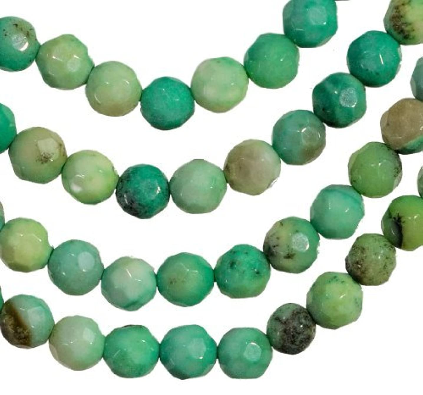 Green Moss Opal Facet 4mm Round Small Beads Strand 15.5