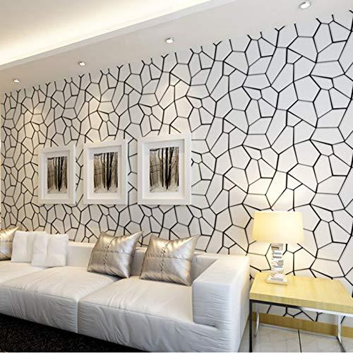 qunxun Patrón Geométrico Blanco Negro Papel Pintado No Tejido Arte Moderno Diseño Salón TV Fondo De Pantalla Papel Tapiz para Las Paredes del Dormitorio 3D10*0.53m