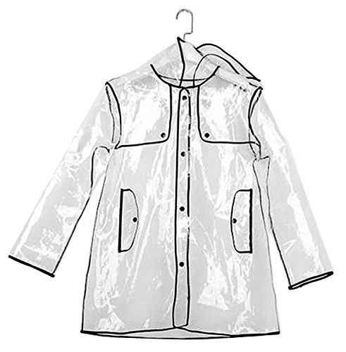 Warmiehomy Damen Transparent Kurze Kapuzen Regenmantel,Wiederverwendbare Regenjacke für Frauen, Größe 36 bis 42, Perfekt für Wardern und Camping