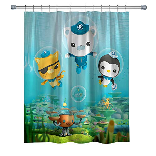 The Octonauts Shower Curtains for Kids Bathroom, Barnacles Kwazii Peso Polyester Fabric Shower Curtain Set Hooks Included, 71X 71 in