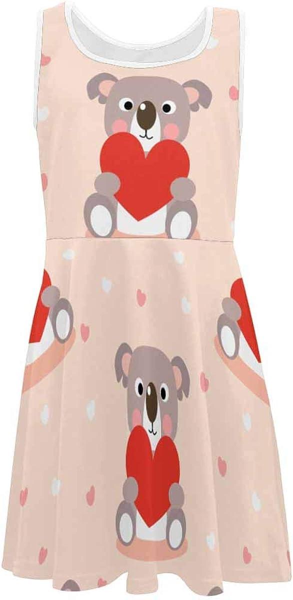 InterestPrint Girls Sleeveless Summer Casual Dresses for School Party Beach Dresses Cute Koala and Red Heart M