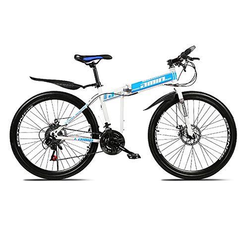 XUELIAIKEE 26inch Folding Mountain Bike,21 Speed MTB Full Mountain Bikes Carbon Steel Frame Spoke Wheels Dual-Suspension Non-Slip Bicycles for Youth Men Women