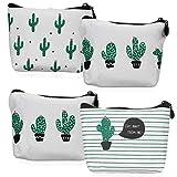 YOUSHARES 4 Packungen Kaktus MünzBeutel - Cactus Leinwand Cash Bag ReißVerschluss Koffer für GeldBörsen, Schlüssel, Make-up-Kosmetik