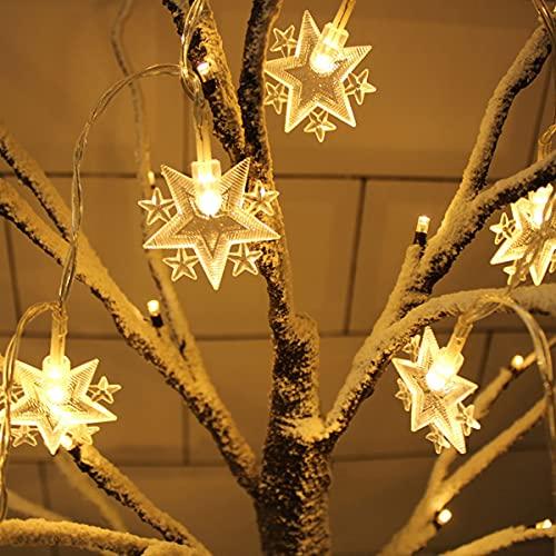 COOLEAD Cadena de luz para Árbol de Navidad 5 m 40 LED Luz Decortiva Guirnalda de Estrellas Luz LED Interior Exterior Tira de Luces a Pilas para Decoración Cumpleaños Jardín
